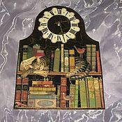 """Для дома и интерьера ручной работы. Ярмарка Мастеров - ручная работа Настенные часы """"Я читал - я устал"""". Handmade."""