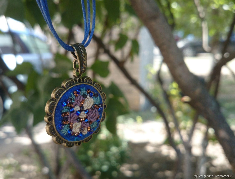 Pendant embroidered ' Roses on blue', Pendant, Azov,  Фото №1