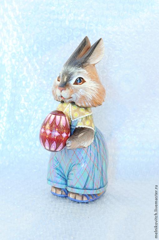 Подарки на Пасху ручной работы. Ярмарка Мастеров - ручная работа. Купить Пасхальный зайчик. Handmade. Голубой, весенний подарок