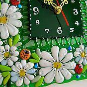 Для дома и интерьера ручной работы. Ярмарка Мастеров - ручная работа фьюзинг, часы из стекла  На солнечной поляночке. Handmade.