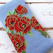 Сумки и аксессуары handmade. Livemaster - original item Glass case made of beads Stained glass poppies. Handmade.