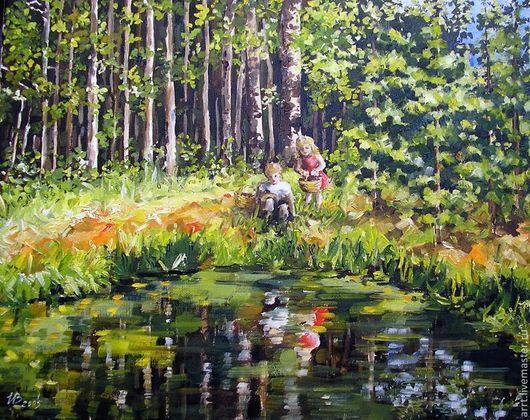 Пейзаж ручной работы. Ярмарка Мастеров - ручная работа. Купить Лес и лесное озеро Картина холст масло. Handmade. Зеленый