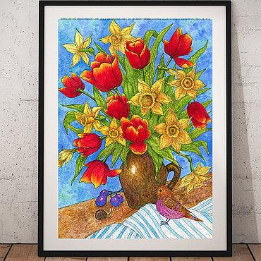 Картины и панно ручной работы. Ярмарка Мастеров - ручная работа Постер Весенние цветы Принт для дома с цветами. Handmade.