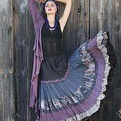 Одежда ручной работы. Ярмарка Мастеров - ручная работа Длинная ,многоярусная юбка в сиреневом колорите. Стиль бохо. Handmade.