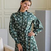 Одежда handmade. Livemaster - original item Lyudmila green linen dress, daisy print. Handmade.