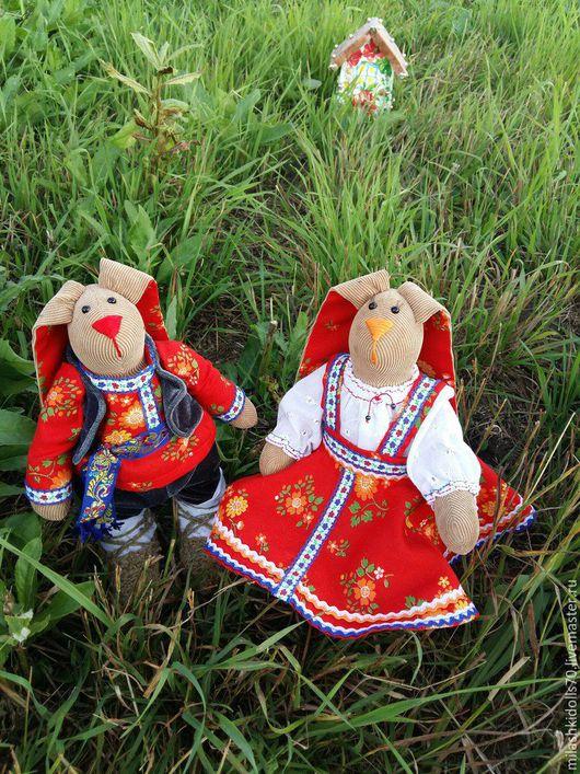 Куклы Тильды ручной работы. Ярмарка Мастеров - ручная работа. Купить Тильда - зайцы в народных костюмах. Handmade. Комбинированный, лапти