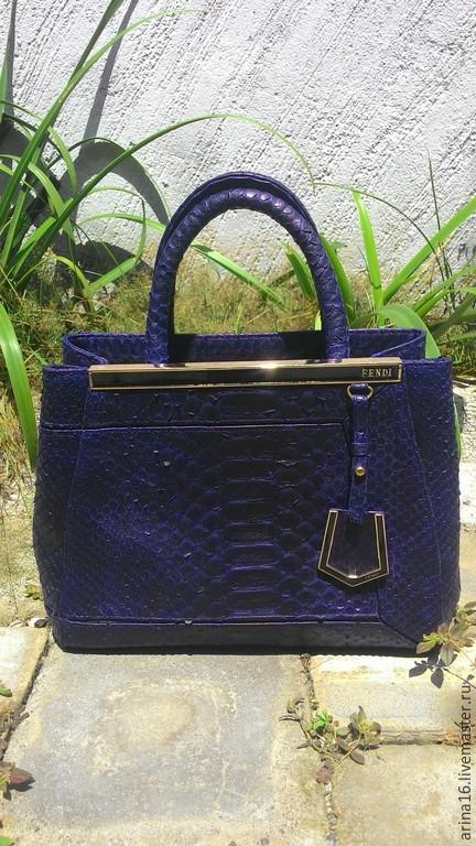 Женские сумки ручной работы. Ярмарка Мастеров - ручная работа. Купить сумка из питона. Handmade. Тёмно-синий, сумка