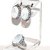 Украшения handmade. Livemaster - original item The earrings and the ring of moon stone agulara / opal. Handmade.