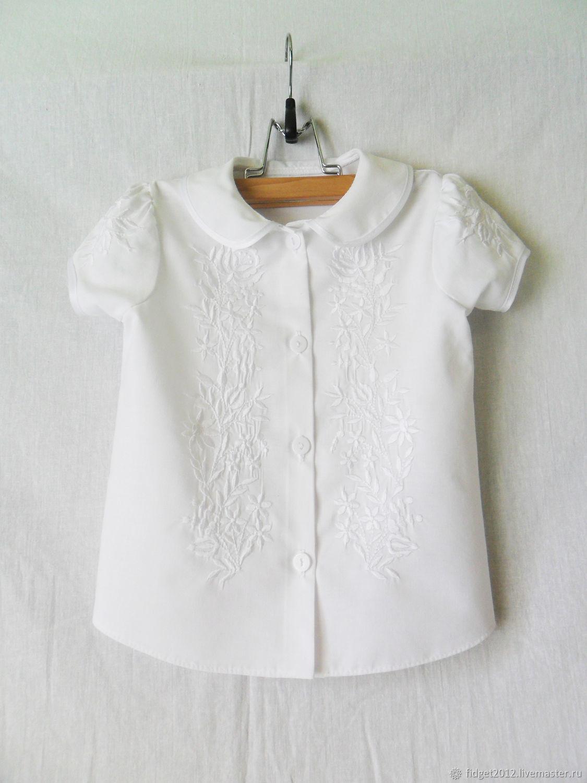 Одежда для девочек, ручной работы. Ярмарка Мастеров - ручная работа. Купить Блузка нарядная для девочки,белая блузка с вышивкой,школьная блузка. Handmade.
