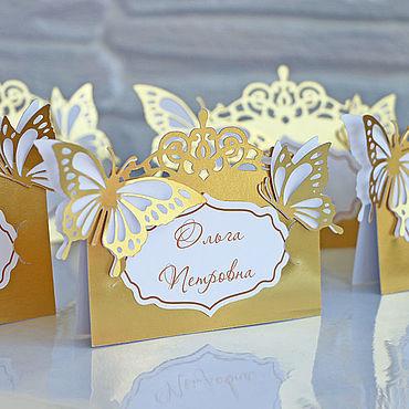 """Свадебный салон ручной работы. Ярмарка Мастеров - ручная работа """"Золотые бабочки"""" рассадочные карточки. Handmade."""