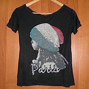 Винтаж handmade. Livemaster - original item Black t-shirt of the French brand O de Mai, t-shirt with the inscription. Handmade.