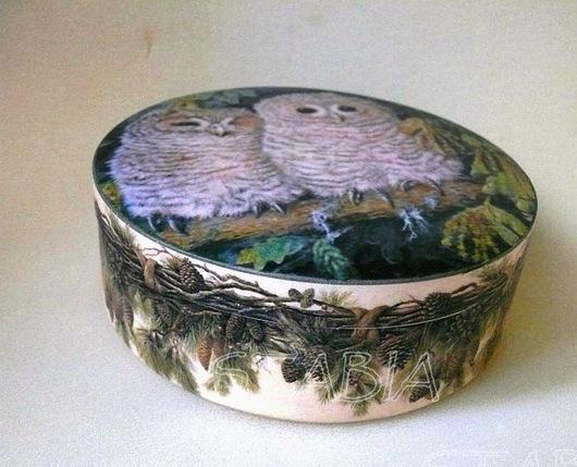 """Шкатулки ручной работы. Ярмарка Мастеров - ручная работа. Купить Шкатулка """" Совята на елке"""". Handmade. Совы, елка"""