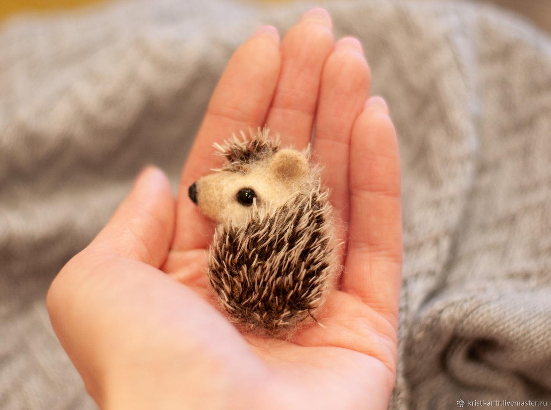 Felted hedgehog brooch, Brooches, Severodvinsk,  Фото №1