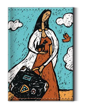 Сумки и аксессуары ручной работы. Ярмарка Мастеров - ручная работа. Купить Кардхолдер (визитница) «Девушка с чемоданом». Handmade. Холст, бирюзовый