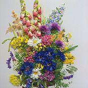 Картины и панно ручной работы. Ярмарка Мастеров - ручная работа Картина вышитая лентами Букет полевых цветов. Handmade.