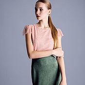 Юбки ручной работы. Ярмарка Мастеров - ручная работа Зеленая юбка-карандаш из замши. Handmade.