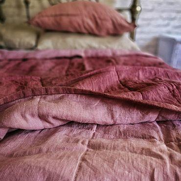 Текстиль ручной работы. Ярмарка Мастеров - ручная работа Льняное одеяло покрывало плед  тонкое розовое стеганое двустороннее. Handmade.