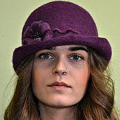 """Аксессуары handmade. Livemaster - original item """"Purple Night"""", felted hat. Handmade."""