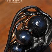 handmade. Livemaster - original item Brooch with cotton pearls, black porcelain. Handmade.