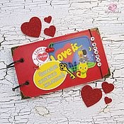 """Книги для рецептов ручной работы. Ярмарка Мастеров - ручная работа Чековая книжка желаний """"Love is"""". Handmade."""