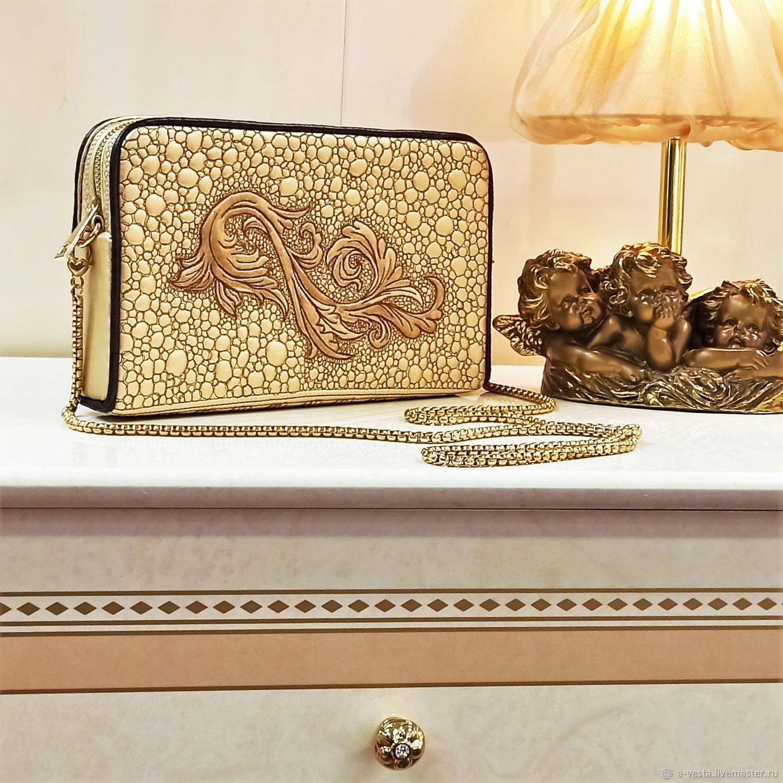 Lauria clutch bag, gold evening bag, gold clutch (84), Clutches, Saratov,  Фото №1