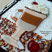 Картины и панно ручной работы. Ярмарка Мастеров - ручная работа Панно из стекла Кофе Капучино с вишенкой, фьюзинг, 30х20 см. Handmade.