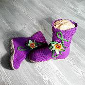 """Обувь ручной работы. Ярмарка Мастеров - ручная работа Сапожки домашние """"Орхидея"""". Handmade."""
