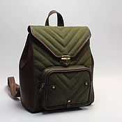 Сумки и аксессуары handmade. Livemaster - original item Backpacks: Backpack canvas and leather. Handmade.