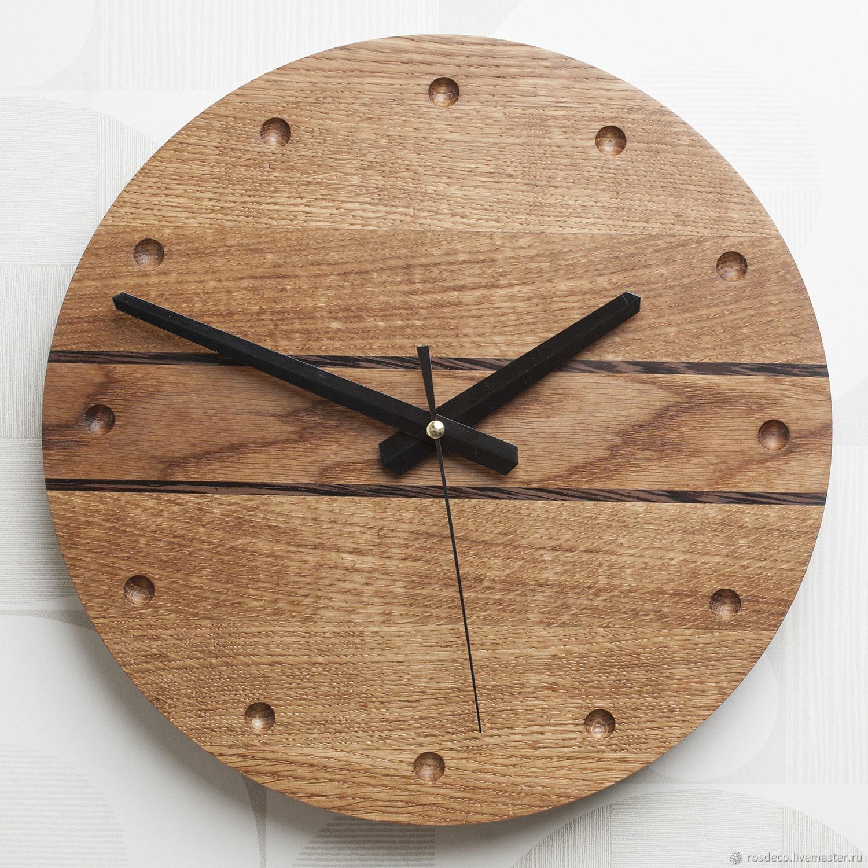 Часы настенные круглые деревянные из дуба №35, Часы классические, Раменское,  Фото №1