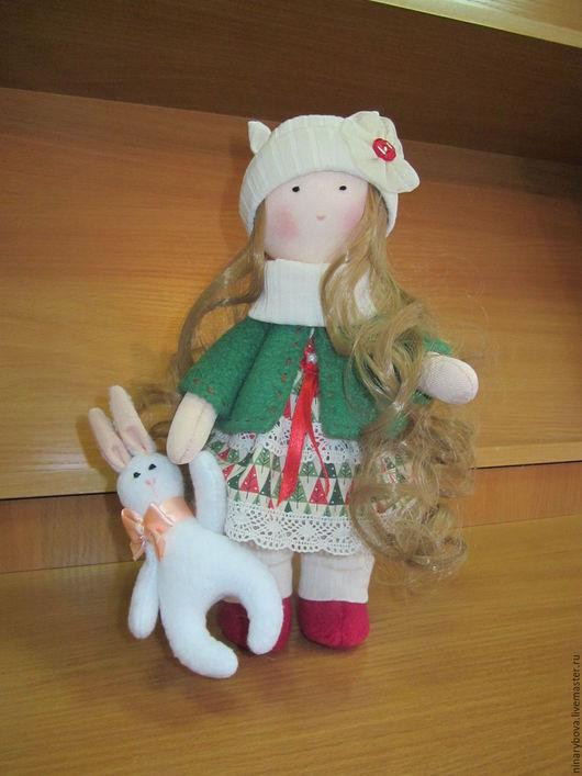 Человечки ручной работы. Ярмарка Мастеров - ручная работа. Купить Девочка Рождество с зайчиком. Handmade. Рождественский ангел, зеленый
