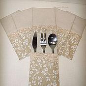 Для дома и интерьера handmade. Livemaster - original item Envelopes ( 6 pcs) for cutlery in beige tones. Handmade.