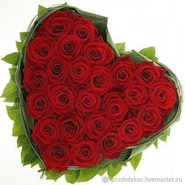 Сердце из живых роз, Букеты, Москва,  Фото №1