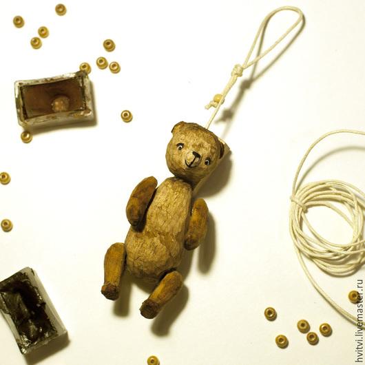 Миниатюра ручной работы. Ярмарка Мастеров - ручная работа. Купить тедди мишка деревянный. Handmade. Коричневый, дерево, резьба по дереву