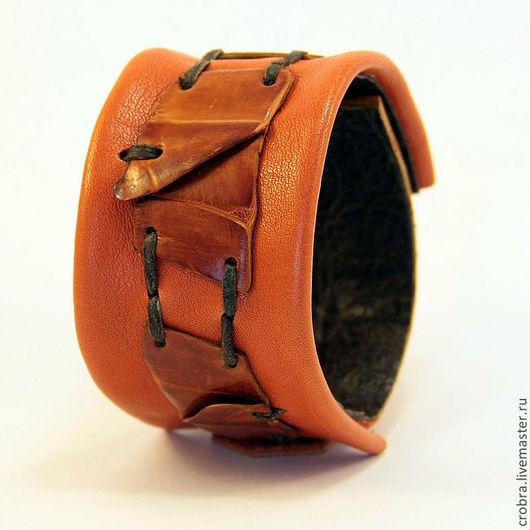 Браслеты ручной работы. Ярмарка Мастеров - ручная работа. Купить Кожаный браслет Оранжевое небо. Handmade. Рыжий, крокодил, подарок