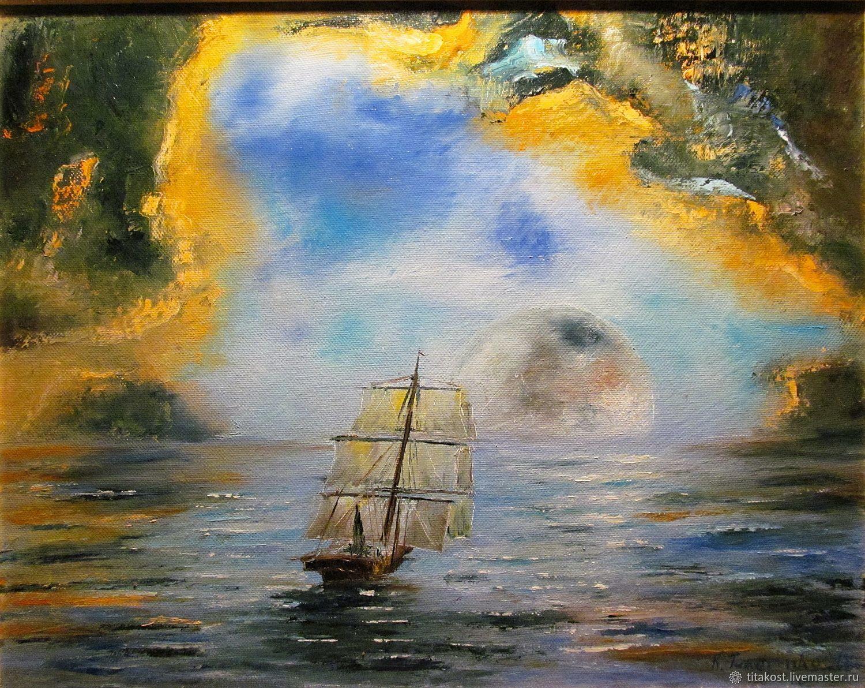 """Пейзаж ручной работы. Ярмарка Мастеров - ручная работа. Купить Картина """"Лунный парус"""". Handmade. Море, луна, картина в подарок"""