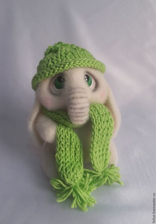 """Игрушки животные, ручной работы. Ярмарка Мастеров - ручная работа. Купить Слонёнок """"Егорка"""". Handmade. Белый, валяная игрушка, подарок"""