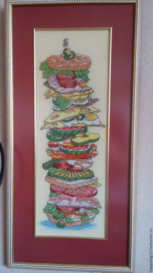 Юмор ручной работы. Ярмарка Мастеров - ручная работа. Купить Мега бутерброд вышитая картина. Handmade. Комбинированный, картина для интерьера