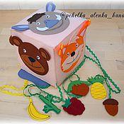 """Куклы и игрушки ручной работы. Ярмарка Мастеров - ручная работа Развивающий кубик-игра """"Кто что ест? Дикие животные."""". Handmade."""