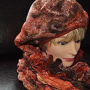 Аксессуары ручной работы. Ярмарка Мастеров - ручная работа Берет и шарфик-горжетка Осень. Handmade.