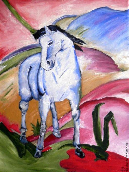 """Абстракция ручной работы. Ярмарка Мастеров - ручная работа. Купить Картина """"Синяя лошадь"""" по мотивам Ф. Марка. Handmade. марк"""