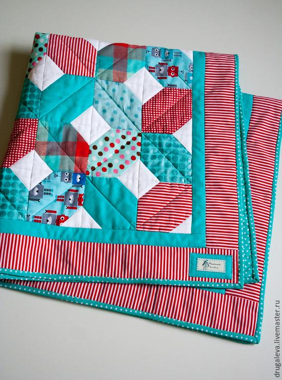 Детское лоскутное одеяло Бирюзовое, Пледы, Орел, Фото №1
