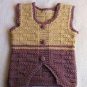 Работы для детей, handmade. Livemaster - original item Children`s knitted vest (tank top) Warm. Handmade.