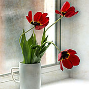 """Картины и панно ручной работы. Ярмарка Мастеров - ручная работа Фотокартина """" Тюльпаны в окне..."""". Handmade."""