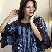 Одежда handmade. Livemaster - original item Free-size tunic made of cotton and lace in the style of boho Adele. Handmade.