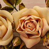 Заколки ручной работы. Ярмарка Мастеров - ручная работа Украшение для шляпы из фоамирана, гирлянда чайных роз. Handmade.