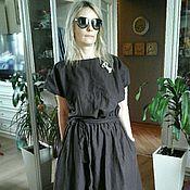 Одежда ручной работы. Ярмарка Мастеров - ручная работа распродажа бохо платье (лен шоколад). Handmade.