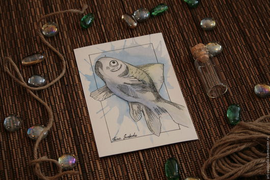 """Открытки на все случаи жизни ручной работы. Ярмарка Мастеров - ручная работа. Купить Открытка """"Рыбка"""". Handmade. Голубой, карточка, рыба"""