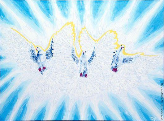 """Животные ручной работы. Ярмарка Мастеров - ручная работа. Купить Картина маслом ручной работы : """" Дети света """" . 60 х 80 см.. Handmade."""