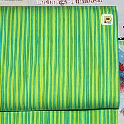 Материалы для творчества ручной работы. Ярмарка Мастеров - ручная работа Ткань мини отрез 20332  Бирюзовые полосы на салатовом (22х27см). Handmade.