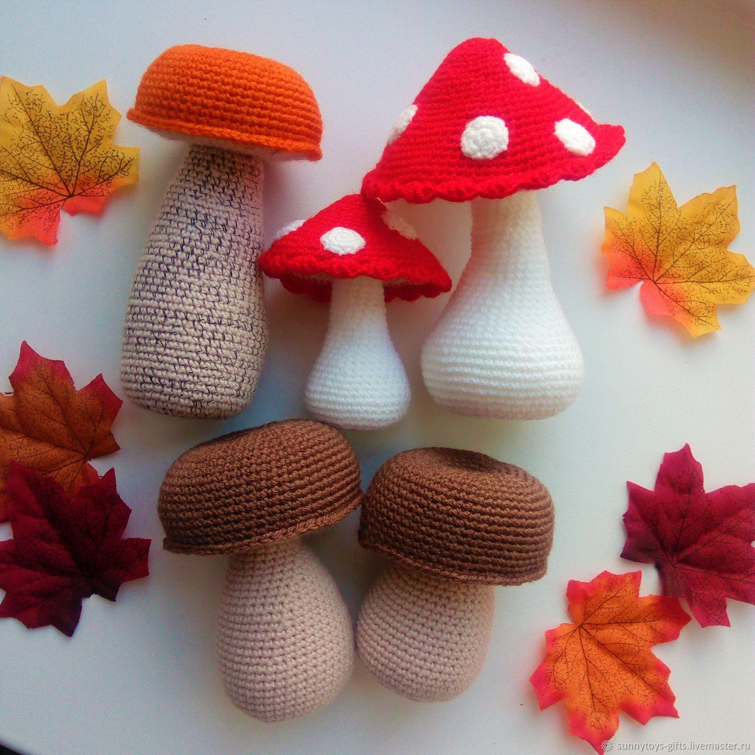 Knitted mushroom Knit food play set Mushroom orange-cap Boletus boletus, Doll food, Berezovsky,  Фото №1